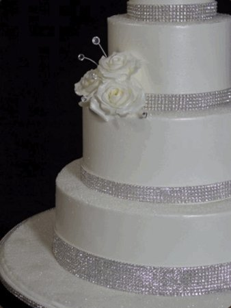 Reception, Flowers & Decor, Cakes, white, cake, Bling