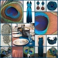 blue, gold, Inspiration board, Copper