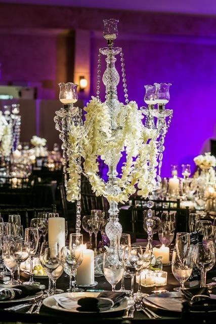 Wedding, Black and white, Crystal, Marisa harris, Candlebra
