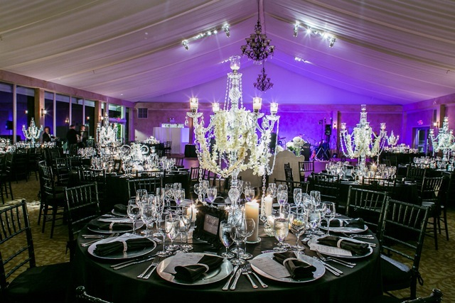 Reception, Flowers & Decor, Wedding, Black and white, Ballroom, Marisa harris, Candlebra
