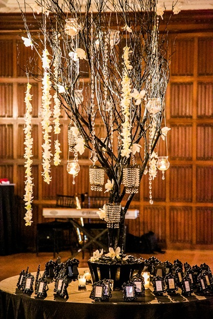 Reception, Flowers & Decor, Decor, Stationery, Escort Cards, Black and white, Ballroom, Trees, Ballroom reception, Marisa harris, Flower garland