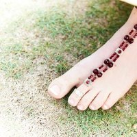 Foot jewelry, Barefoot shoes, Barefoot sandals, Red jewelry