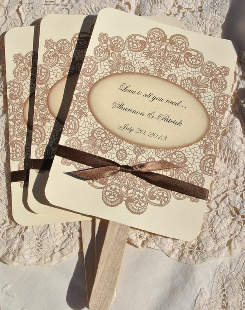 Ceremony, Reception, Flowers & Decor, Favors & Gifts, brown, Favors, Vintage, Rustic, Rustic Wedding Flowers & Decor, Wedding, Fans, Inspiration board, Country