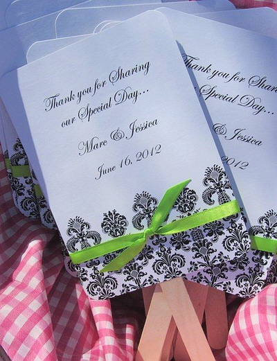 Ceremony, Reception, Flowers & Decor, Favors & Gifts, white, green, black, Favors, Wedding, Fans, Damask
