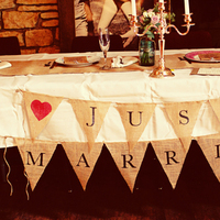 Reception, Flowers & Decor, Rustic, Rustic Wedding Flowers & Decor, Married, Just, Bannerpennant