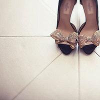 Shoes, Fashion, gold, Bridal, Bows, Susan sean