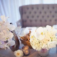 Reception, Flowers & Decor, ivory, green, Centerpieces, Modern, Centerpiece, Grey, Hotel, Orchids, Contemporary, Lillies, Décor, Susan sean