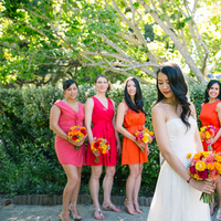 Bridesmaids, Bridesmaids Dresses, Fashion, orange, pink, Summer, Coral, Mismatched, Katie jacob, Summer Wedding Dresses