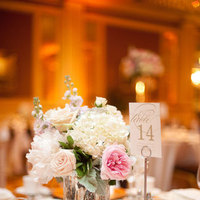 Reception, Flowers & Decor, Decor, pink, silver, gold, Vintage, Romantic, Ballroom, Tablescape, Vases, Meagan david