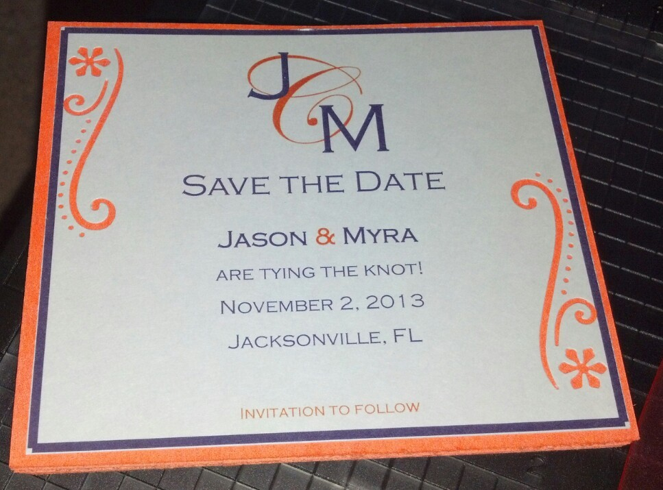 DIY, Stationery, orange, purple, Invitations, The, Save, Date