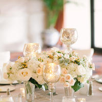 Reception, Flowers & Decor, white, ivory, silver, Centerpieces, Classic, Candles, Centerpiece, Wedding, Romantic, Formal, Carly darion