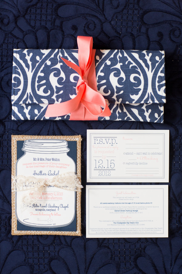 Stationery, pink, blue, Invitations, Coral, Preppy, Jar, Mason, Heather david