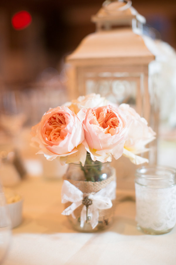 Reception, Flowers & Decor, Decor, ivory, Vintage, Sweet, Table, Lace, Burlap, Lantern, Jar, Mason, Peonie, Heather david