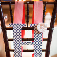 Flowers & Decor, Decor, pink, blue, Monogram, Chair, Ribbon, Coral, Navy, Preppy, Polka, Dot, Heather david