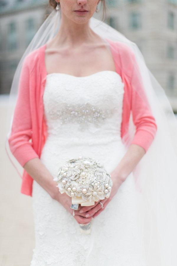 pink, Winter, Bride, Preppy, Cardigan, Heather david