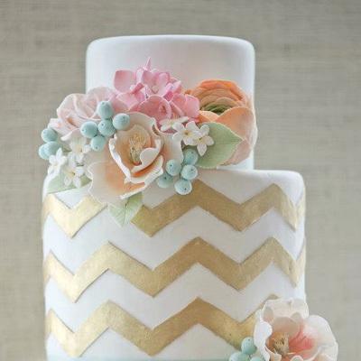 Cakes, gold, cake, Wedding, Trends, Pastel, Chevron