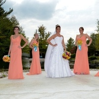 Flowers & Decor, Bridesmaids, Bridesmaids Dresses, Wedding Dresses, Fashion, orange, dress, Bride Bouquets, Bridesmaid Bouquets, Bride, Flowers, Jim, Hjelm, Maggie, Papaya, Sottero, Royale, Rhianna, Flower Wedding Dresses