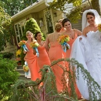 Flowers & Decor, Bridesmaids, Bridesmaids Dresses, Wedding Dresses, Fashion, orange, dress, Bride Bouquets, Bridesmaid Bouquets, Bride, Flowers, Jim, Hjelm, Maggie, Sottero, Royale, Rhianna, Flower Wedding Dresses