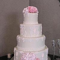 Reception, Flowers & Decor, Cakes, white, pink, cake, Flowers