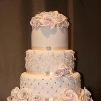 Reception, Flowers & Decor, Cakes, white, pink, silver, cake, Flowers