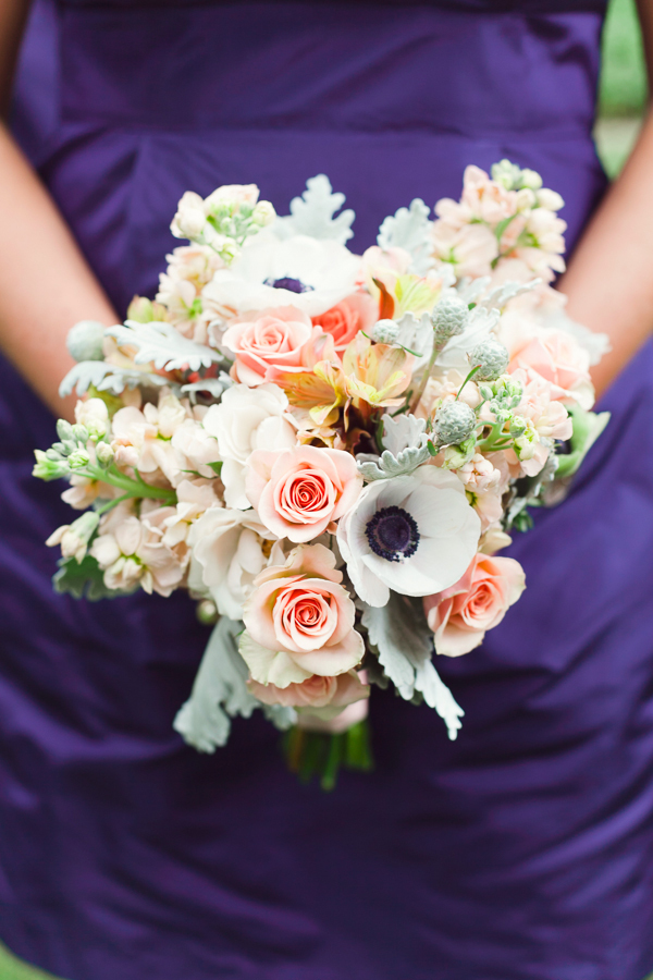 yellow, pink, green, Roses, Bouquet, Bridesmaid, Peach, Coral, Navy, Anemones, Brittany jason
