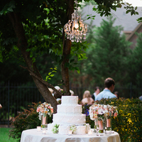white, cake, Wedding, Outdoor, Garden, Garden Wedding Cakes, Chandelier, Backyard, Brittany jason, Cakes, Flowers & Decor