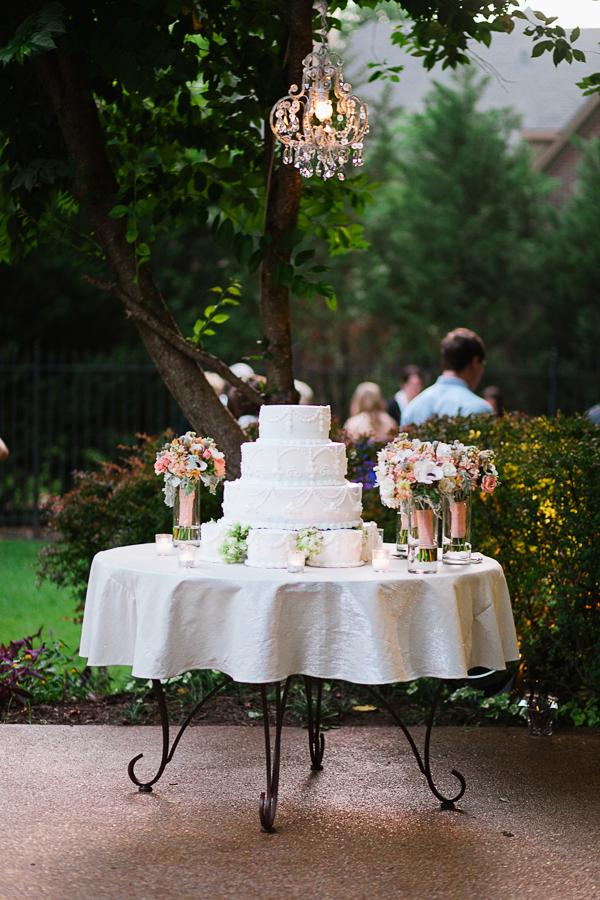 Flowers & Decor, Cakes, white, cake, Garden, Garden Wedding Cakes, Outdoor, Wedding, Chandelier, Backyard, Brittany jason