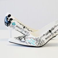 Shoes, Fashion, white, silver, Wedding, Custom, Hand, Painted