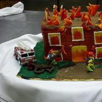 Cakes, yellow, orange, red, cake, Grooms, Firefighter