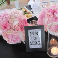 Ceremony, Reception, Flowers & Decor, white, pink, black, Crystal, Bling