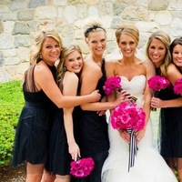 Flowers & Decor, Bridesmaids, Bridesmaids Dresses, Shoes, Fashion, pink, black, Bridesmaid Bouquets, Flowers, Wtoo, Lauren mike, Flower Wedding Dresses