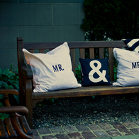 Flowers & Decor, Decor, white, black, Wedding, Pillow, Mr, Mrs, Ampersand, Lauren mike