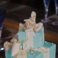 Cakes, white, yellow, blue, silver, cake, Wedding, Tiffany, By, Box, Cakework