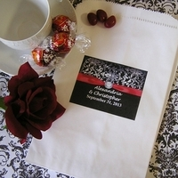 Reception, Flowers & Decor, Favors & Gifts, white, red, black, Favors, Bags, Candy, Buffet