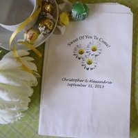 Reception, Flowers & Decor, Favors & Gifts, white, yellow, Favors, Flowers, Bags, Candy, Daisy