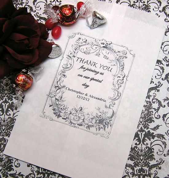 Reception, Flowers & Decor, Favors & Gifts, white, black, Favors, Bags, Candy, Buffet