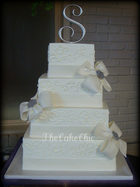 Cakes, white, cake, Bows, Bling