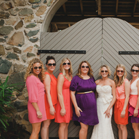 Beach Wedding Dresses, Fashion, orange, Beach, Wedding, Bridesmaid, Dresses, Coral, Sunglasses, Amy kenn, Mis-matched