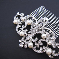 Beauty, Jewelry, white, silver, Updo, Comb, Glam, Hair, Inspiration board, Hollywood, 1940s