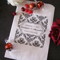 Reception, Flowers & Decor, Favors & Gifts, white, black, Favors, Wedding, Candy, Buffet, Inspiration board, Damask