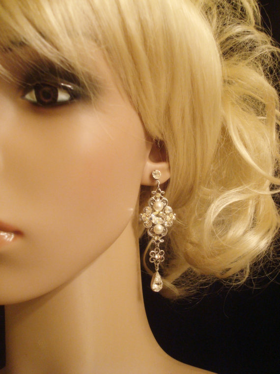 Jewelry, white, ivory, silver, Earrings, Earring, Pearl, Bling, Sparkly, Dangly