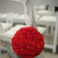 Ceremony, Flowers & Decor, Decor, red, Ceremony Flowers, Aisle Decor, Flowers, Pomander, Aisle, Stephanie johnny
