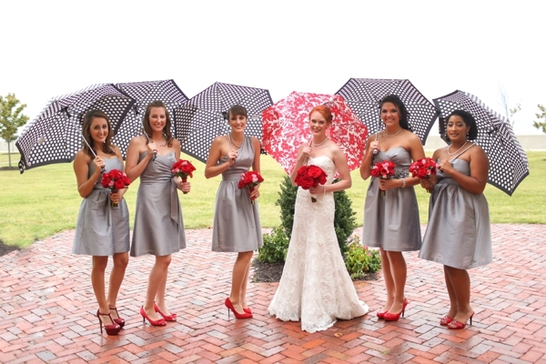 Bridesmaids, Bridesmaids Dresses, Fashion, red, gray, Grey, Bridesmaid, Umbrellas, Dresses, Rain, Stephanie johnny