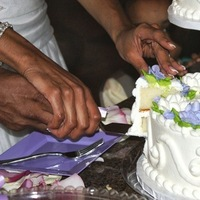 Reception, Flowers & Decor, Cakes, white, purple, cake, Cutting