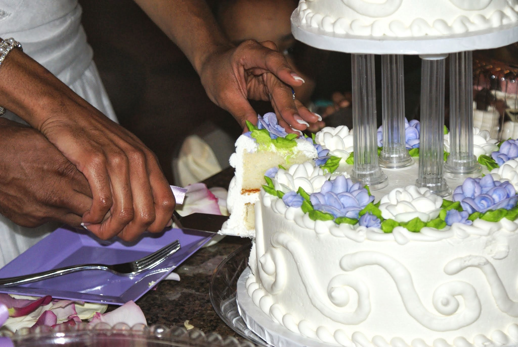 Reception, Flowers & Decor, Cakes, white, purple, cake, Cutting