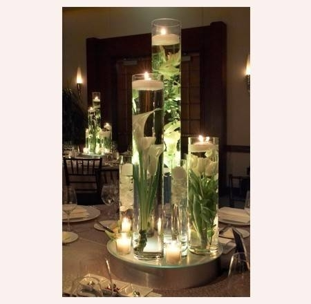Reception, Flowers & Decor, white, ivory, red, Centerpieces, Flowers, Roses, Flower, Centerpiece, Vase, Rose, Vases, Crimson, Underwaterflowers, Floatingcandles, Floatingcandle, Submergedflowers