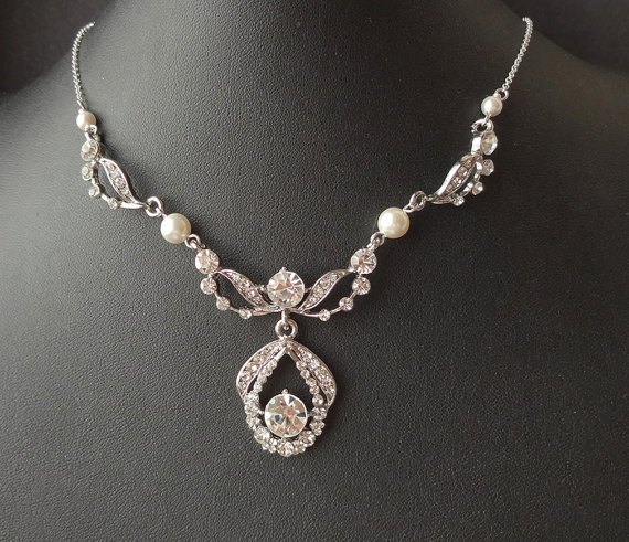 Jewelry, white, ivory, silver, Necklaces, Vintage, Classic, Pearls, Necklace, Diamond, Sparkle, Pearl, Bling, Diamonds, Jewels, Cz, Sparkly, Sophisticated