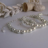 Jewelry, white, ivory, silver, Bracelets, Pearls, Bridemaids, Bracelet, Diamond, Pearl, Bling, Diamonds, Bridemaid, Cz, Sparkly, Bridesmaidsbracelets, Bridesmaidsgifts