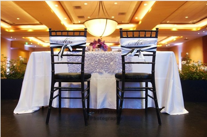 Reception, Flowers & Decor, white, black, Chair, Sash, Mr, Mrs