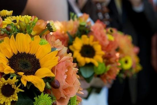 Reception, Flowers & Decor, Favors & Gifts, Bridesmaids, Bridesmaids Dresses, Fashion, yellow, orange, green, Favors, Bridesmaid Bouquets, Centerpieces, Flowers, Flower decor, Flower Wedding Dresses